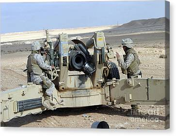 U.s. Marines Prepare To Fire A Howitzer Canvas Print by Stocktrek Images