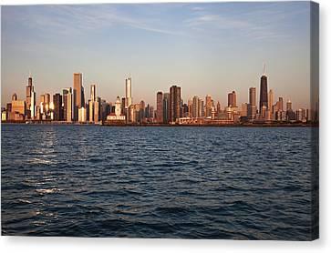 Usa, Illinois, Chicago, City Skyline Over Lake Michigan Canvas Print by Henryk Sadura