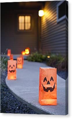 Usa, Illinois, Metamora, Halloween Bags On Porch Canvas Print by Vstock LLC