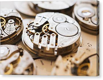 Variety Of Watches Striped To Parts Canvas Print by Tetra Images