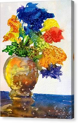 Vase With Flowers Canvas Print by Frank SantAgata