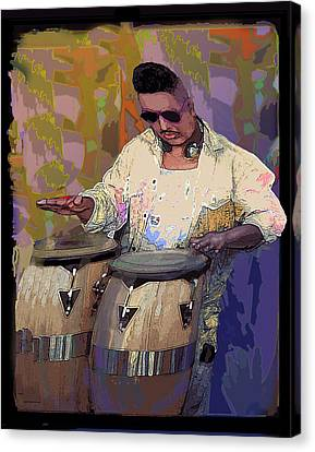 Venice Beach Drummer Canvas Print by Alice Ramirez