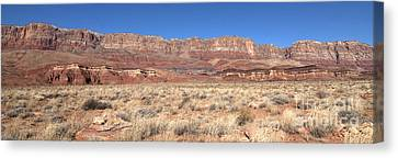 Canvas Print featuring the photograph Vermillion Cliffs Panorama by Bob and Nancy Kendrick
