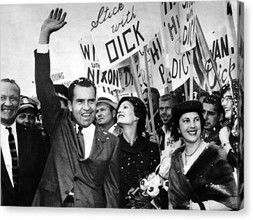 Vice President Richard Nixon And Wife Canvas Print by Everett