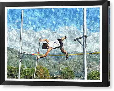 Watercolor Design Of Pole Vault Jump Canvas Print by John Vito Figorito