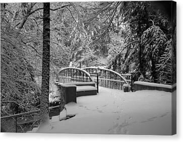 Watkins Glen Gorge Bridge In Winter 2 Canvas Print