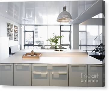 White Counters And Dining Area Canvas Print by Andersen Ross