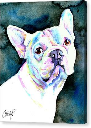 White French Bulldog Canvas Print by Christy  Freeman