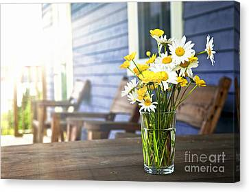 Wildflowers Bouquet At Cottage Canvas Print by Elena Elisseeva