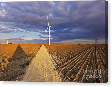 Wind Turbine Shadow Canvas Print by Jeremy Woodhouse