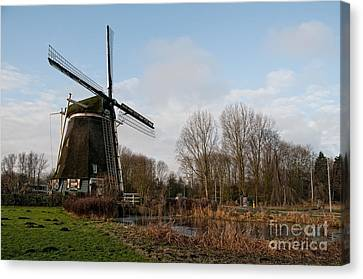 Canvas Print featuring the digital art Windmill In Amsterdam by Carol Ailles