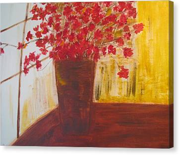 Canvas Print featuring the painting Window Flowers by Brindha Naveen