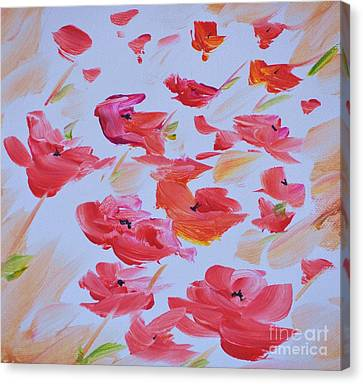 Windy Poppies No. 1 Canvas Print by Barbara Tibbets