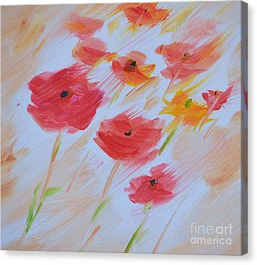 Windy Poppies No. 2 Canvas Print by Barbara Tibbets