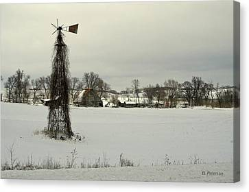 Winter On The Farm Canvas Print by Edward Peterson