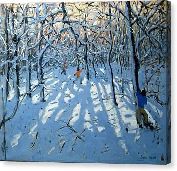 Winter Woodland Near Newhaven Derbyshire Canvas Print