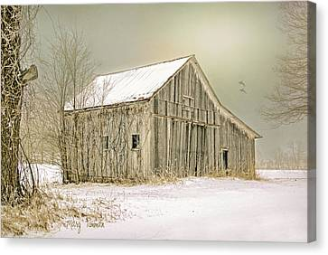 Canvas Print featuring the photograph Winter's Barn by Mary Timman