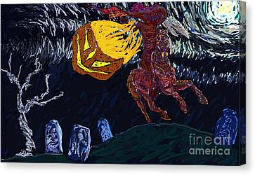 Mix Media Canvas Print - Witching Hour by Kathy Holman