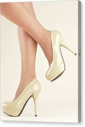 Woman Wearing High Heel Shoes Canvas Print by Oleksiy Maksymenko