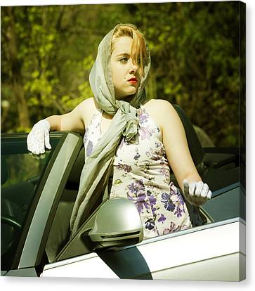 Woman With Convertible Canvas Print by Joana Kruse
