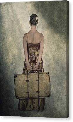 Woman With Suitcase Canvas Print
