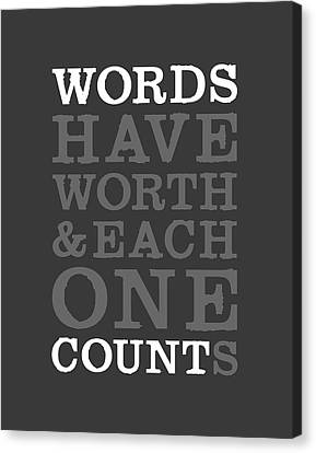 Words Count Canvas Print by Megan Romo