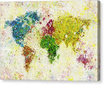 World Map Painting Canvas Print by Setsiri Silapasuwanchai