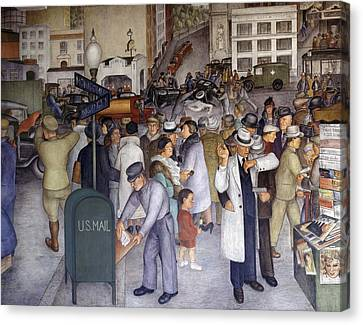 Wpa Mural. Detail Of The Mural Canvas Print by Everett