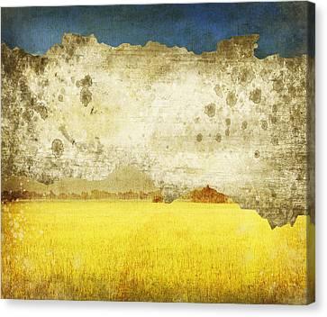 Yellow Field On Old Grunge Paper Canvas Print by Setsiri Silapasuwanchai