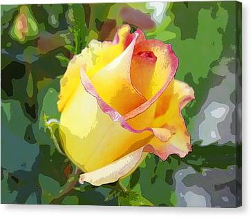 Canvas Print featuring the photograph Yellow Rose by Anne Mott