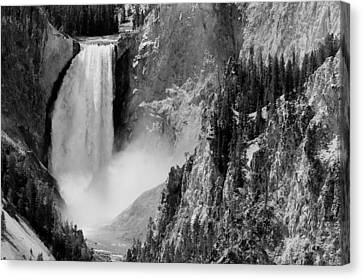 Yellowstone Waterfalls In Black And White Canvas Print by Sebastian Musial