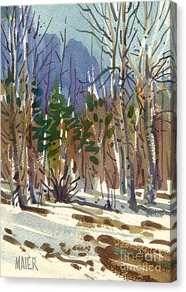 Yosemite Valley In Winter Canvas Print by Donald Maier