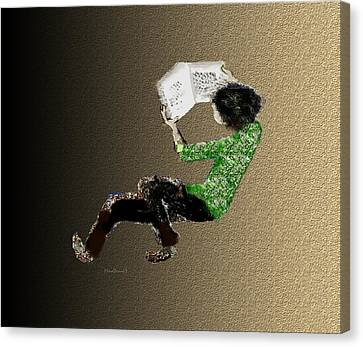 Canvas Print featuring the digital art Young Reader by Asok Mukhopadhyay