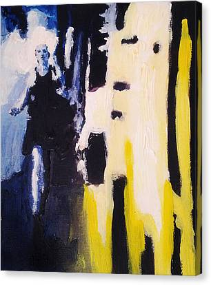 Young Running Female Cityscape In Blue And Yellow Canvas Print