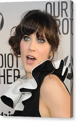 Zooey Deschanel At Arrivals For Our Canvas Print by Everett