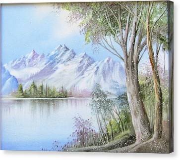 1116b  Mountain And Lake Canvas Print by Wilma Manhardt