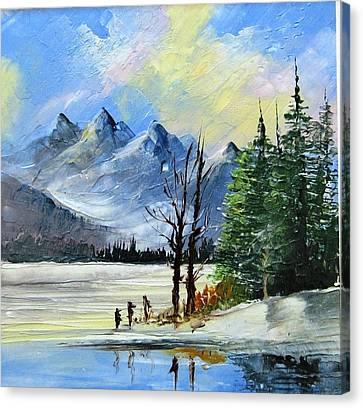 1130b Mountain Lake Scene Canvas Print by Wilma Manhardt