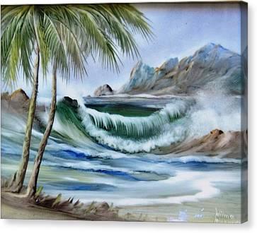 1132b Waterwave Scene Canvas Print by Wilma Manhardt