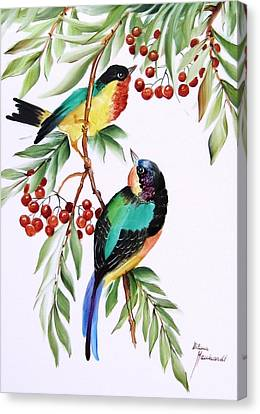 1152 Little Birds And Berries Canvas Print by Wilma Manhardt