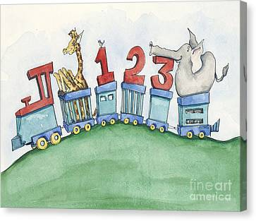 123 Animal Train Canvas Print by Annie Laurie