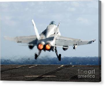 An Fa-18c Hornet Launches Canvas Print by Stocktrek Images