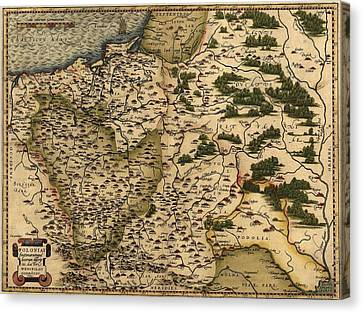 1570 Map Of  Poland. Polands Political Canvas Print by Everett