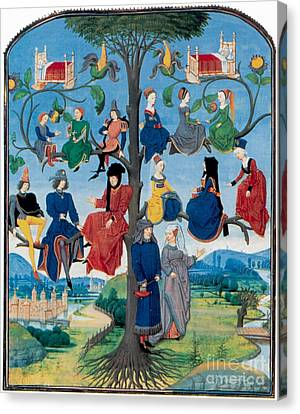 Genealogy Canvas Print - 15th-century Family Tree by Photo Researchers