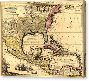 1710 Dutch Map Of North America Canvas Print by Everett