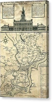 1752 Map Of Philadelphia, Pennsylvania Canvas Print by Everett