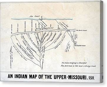 1801 Indian Map Of The Upper-missouri Canvas Print by Everett