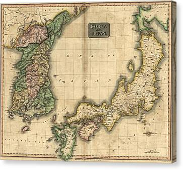 1815 Map Of Japan And Korea, Showing Canvas Print by Everett