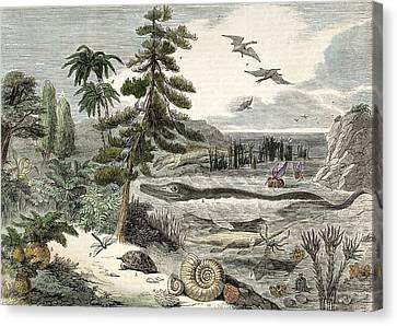 1833 Penny Magazine Extinct Animals Crop Canvas Print by Paul D Stewart