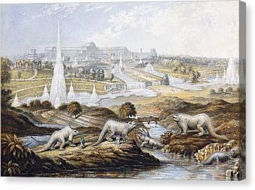 1854 Crystal Palace Dinosaurs By Baxter 1 Canvas Print by Paul D Stewart