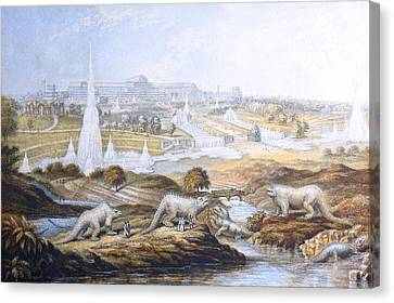 1854 Crystal Palace Dinosaurs By Baxter 2 Canvas Print by Paul D Stewart